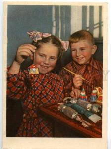 137443 SOVIET Kids making NEW YEAR Toys on Tree Old Russian PC