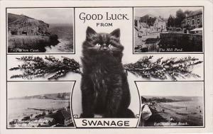 England Dorset Good Luck From Swanage With Black Cat 1930 Real Photo