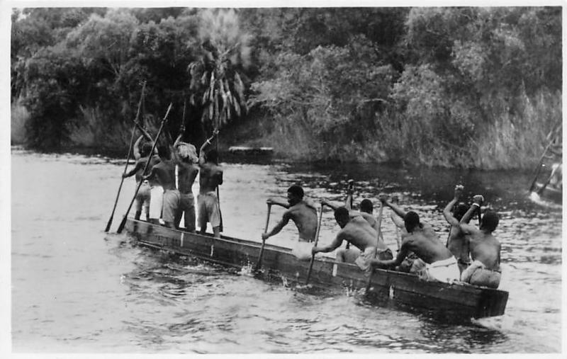 Zambia, Kazungula, Zambezi River, above Victoria Falls, A native canoe, boat