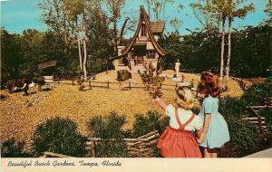 Tampa Florida~Beautifu Busch Gardens Gnomes~Crooked House 1950 Postcard