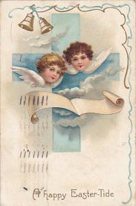 A happy Easter-Tide, Angels faces & wings, Cross, ringing bells, blue ribbon,...