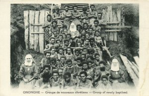PC CPA PAPUA NEW GUINEA, ONONGHE, GROUP EF NEWLY BAPTISED, Postcard (b19792)