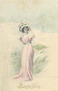Fancy lady dove dress hat early greetings postcard