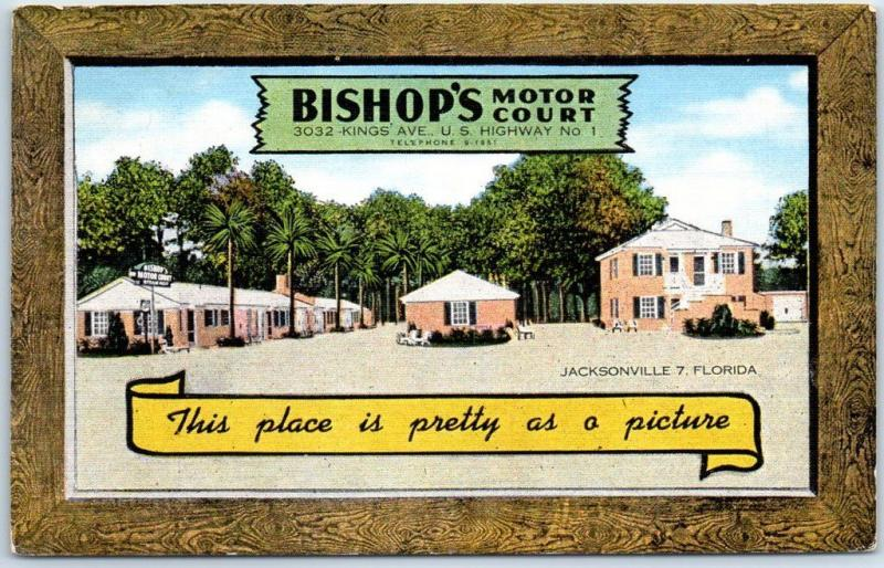 Jacksonville, Florida Postcard BISHOP'S MOTOR COURT Route 1 Roadside Linen 1940s