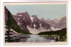 Tinted Real Photo, Moraine Lake in the Valley of the Ten Peaks Alberta, Scene...