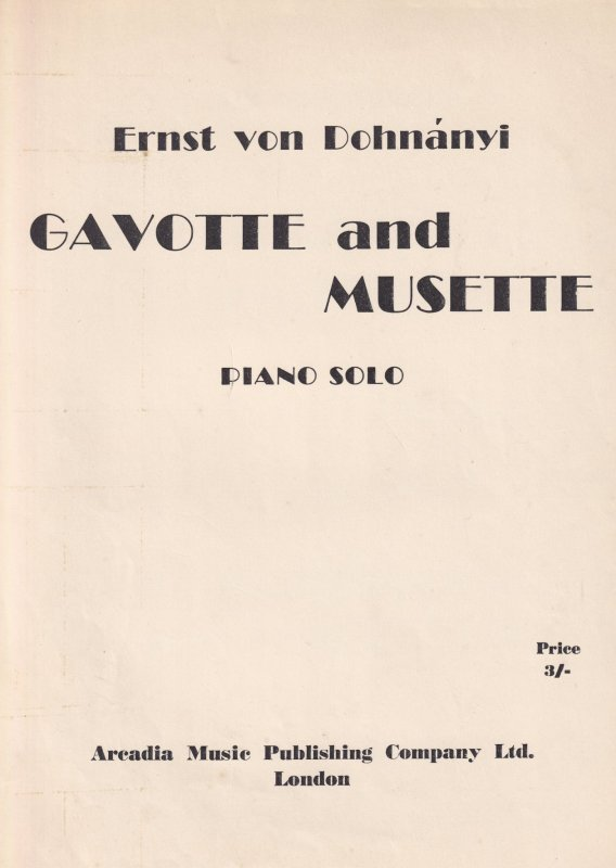 Ernst Von Dohnanyo Gavotte And Musette Classical Sheet Music