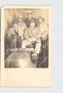 RPPC REAL PHOTO POSTCARD SOUVENIR PICTURE SEEING ST. LOUIS GROUP OF MEN ANTIQUE