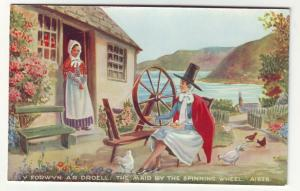 P9560 valentines card y forwyn ar droell. the maid by the spinning wheel