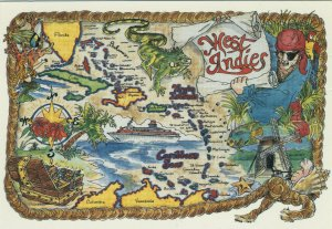 West Indies Map-Style Postcard 1980s/1990s