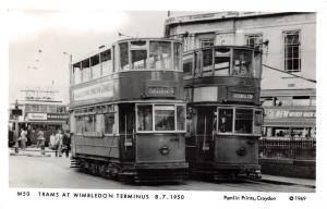 Vintage 1969 Postcard Trams at Wimbledon Terminus 1950 Repro Card #M6
