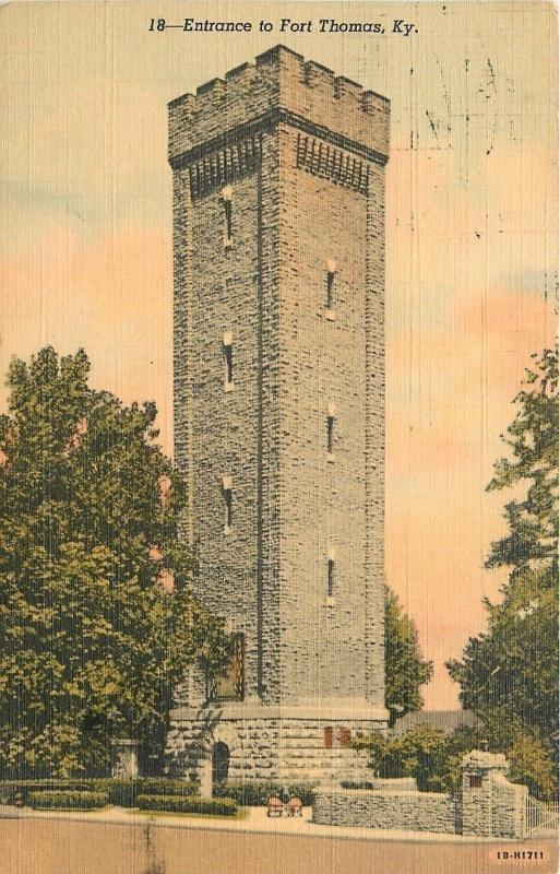 Fort Thomas Kentucky~Tall Tower Entrance~1946 Linen Postcard