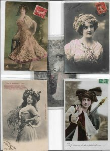 Art Nouveau Beautiful Woman RPPC Postcard Lot of 10 01.10