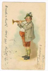 Man blows trumpet , PU-1904