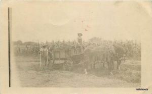 Agriculture C-1910 Farming Corn Harvest Horse drawn workers Overall RPPC 3287