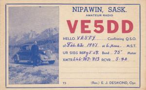 QSL Radio Postcard , NIPAWIN , Saskatchewan, Canada , 30-40s