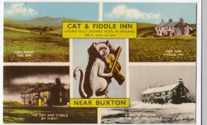 Derbyshire; Cat & Fiddle Inn Multiview, Buxton PPC, Unposted, c 1960's
