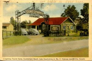 Canada - Ontario, Orillia. Lingerlong Tourist Camp, Cumberland Beach, Lake Co...