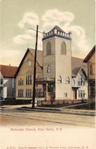 West Derry New Hampshire~Methodist Church Building with Large Bell Tower~c1905