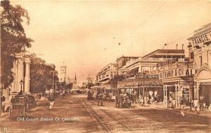 Calcutta Old Court House Store Fronts Trolley Tracks Raphael Tuck Postcard