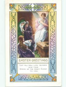 Unused Pre-Linen easter religious ANGEL APPEARS AT JESUS TOMB J2071