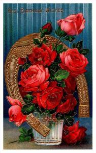 21404  Birthday    Roses inside Horshoe