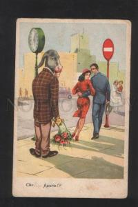 072546 Male as Dressed DONKEY vintage ITALY Comic Postcard