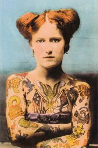 Princess Christina the Human Fresco Tattooed Woman Modern Tattoo Postcard