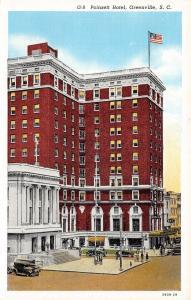 Greenville South Carolina~Poinsett Hotel~EAT Cafe~Cars~1929 Postcard