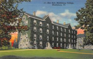 Star Hall, Middlebury College, Middlebury, Vermont, Early Postcard, Unused