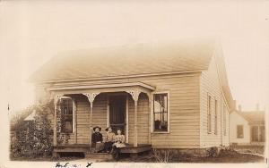 Dunkerton Iowa~Our House 1 Block North of FM Church~Kids on Porch~1908 RPPC
