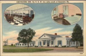 Somset KY Greyhound Inn Linen Roadside Postcard