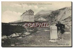 Postcard Old Customs Customs Col Petit Saint Bernard Italian Frontiere Franco