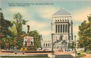 Indianapolis~University Park~Fountain~World War Memorial~1951 Linen Postcard