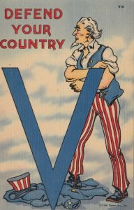 Uncle Sam V For Victory , 30-40s ; Defend your country