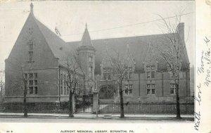 Scranton PA~Albright Memorial Library~Wrought Iron Fence~Carriage Block~1906 PC