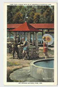 PPC POSTCARD ARKANSAS HOT SPRINGS NATIONAL PARK AT ARBORDALE FOUNTAIN LAKE WITH