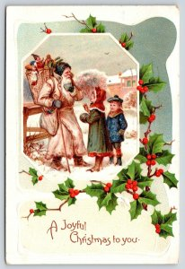 Victorian Christmas Santa~Long Off-White Overcoat~Toy Back Basket~Kids~Germany