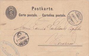 St. Gallen to Herisau Postal Card , Switzerland , PU-1880