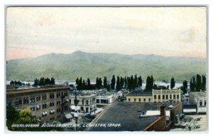 LEWISTON Idaho ID ~Birdseye BUSINESS SECTION 1900s UDB Nez Perce County Postcard