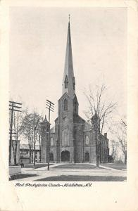 Middletown New York~Presbyterian Church~Downtown~Crooked Telephone Pole~1906 PC