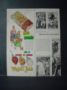 1953 Mars Candy Chocolate Bar Rare Color Look Yearnin' Vintage Print Ad 11082