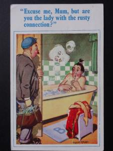 Donald McGill: Plumber & Lady in Bath EXCUSE ME, MUM, BUT ARE YOU.. No.269
