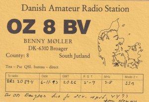 South Jutland Broager QSL Denmark Danish Radio Card