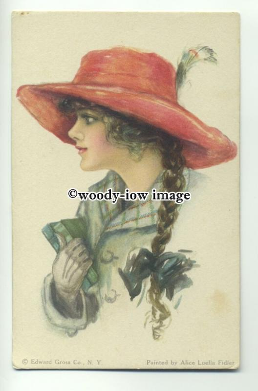 su2278 - American Girl, with Hat & Books  Artist -Alice Luella Fidler-  postcard