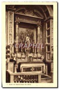 Old Postcard Altar of the Sacred Heart of Jesus