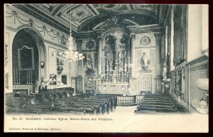 dc335- QUEBEC CITY Postcard 1910s Notre Dame Church Interio by Pruneau & Kirouac