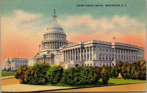 Vtg 1940s United States Capitol Building Washington DC Unused Linen Postcard