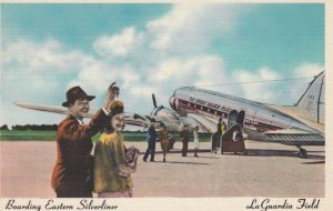Boarding EASTERN Silverliner Airplane , La Guardia Field , New York , 30-40s