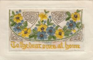 Hand Sewn, 1900-10s; To the dear ones at Home, blue & yellow flowers, Insert