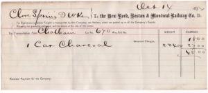 1874 Freight Receipt, NEW YORK, BOSTON & MONTREAL RAILWAY...